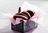 Chocolate and rose macaroons