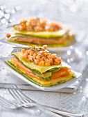 Two salmon,pineapple and cucumber mille-feuille