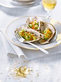 Oysters stuffed with leeks and trout roe