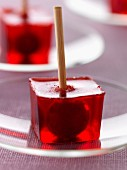 Cherry liqueur and small griotte cherry jelly cubes