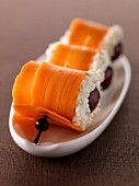 Carrot, cream cheese and griotte cherry makis