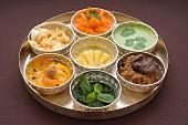 Tray of seven Indian chutneys