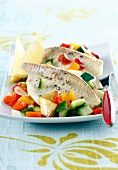 Turbot with sauteed vegetables
