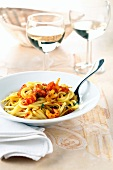 Linguine with crayfish
