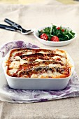 Eggplant cheese-topped dish