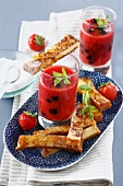 French toast and summer fruit soup with fresh mint