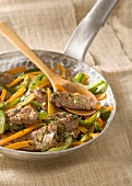 Beef,carrot and green pepper stir-fry