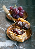 Vieux Bruges cheese, Liège syrup and grape open sandwich