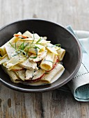 Pasta with chicken ,apples and chicory