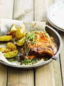 Marinated pork chops with potatoes