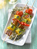 Pepper, zucchini, tomato and eggplant brochettes