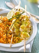 Monkfish brochettes with pistachios and almonds