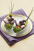 Scallops with purple potatoes