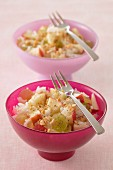 Long grain rice salad with apples,raisins and hazelnuts