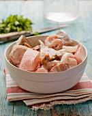 Bowl of mixed raw fish