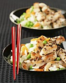 Chicken and vegetables with Chinese rice
