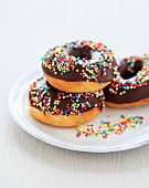 Decorated chocolate donuts