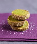 Green tea shortbread cookies coated with crystallized sugar