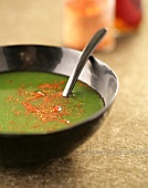Spinach soup with ground red pepper