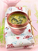 Watercress, wakame seaweed and leek soup