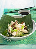 Red scorpion fish, beansprouts, pak-choy cabbage, cinnamon and star anise cooked in a banana leaf