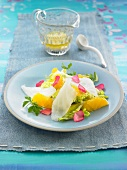 Smoked cod, orange, lettuce heart and rose petal salad