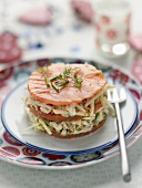 Crab meat,apple and smoked salmon Mille-feuille