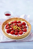 Strawberry,fromage blanc and lemon zest tart