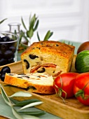 Tomato,olive and anchovy savoury cake