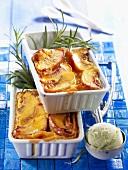 Peach Clafoutis with rosemary ice cream