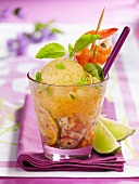 Melon granita with basil and gambas