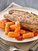 Veal liver with raspberry vinaigar sauce and carrots with cumin