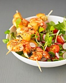 Glazed shrimp brochettes