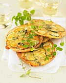 Zucchini and Laguiole cheese tartlets