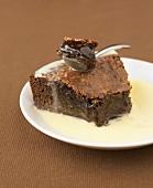 Dark chocolate fondant with custard