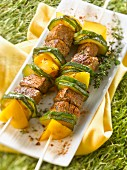 Spicy beef,zucchini and yellow pepper brochettes