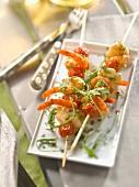 Monkfish, shrimp and cherry tomato brochettes