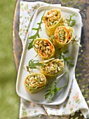 Chicken,raw vegetable and chive cream wraps
