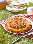 Tomato, rosemary and rosemary honey tatin tart