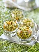 Fine semolina,parsley,raisin,tomato and lemon zest Verrines