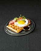 Waffle with fried egg and bacon
