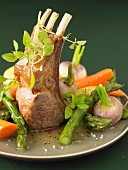 Loin of lamb with spring vegetables