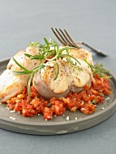 Monkfish with tomatoes