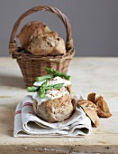 Soft-boiled egg and asparagus bread buns