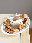 French toast with fromage blanc and candied chestnuts