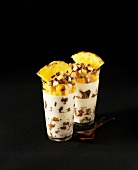 Panna cotta with pineapple,cashews and chocolate chips