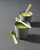 Green tea-flavored yoghurts