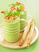 Cream of pea soup with shrimps