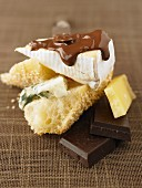Pieces of cheese with chocolate