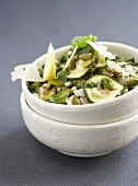 Wheat with zucchini,capers and parmesan